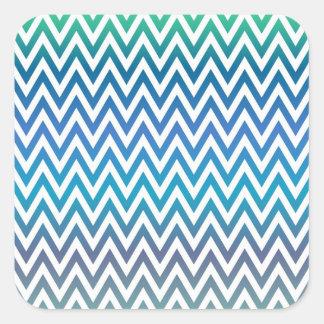 Pegatina Cuadrada zigzag, colorido, divertido, azul y verde
