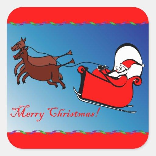 Pegatina cuadrado con Santa en su trineo