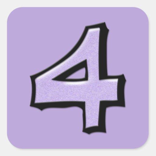 Pegatina cuadrado de la lavanda tonta del número 4
