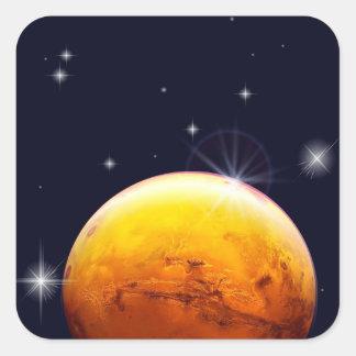 Pegatina cuadrado de Marte del planeta