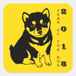 Pegatina cuadrado del año 2018 chinos del perro de