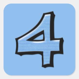 Pegatina cuadrado del azul tonto del número 4