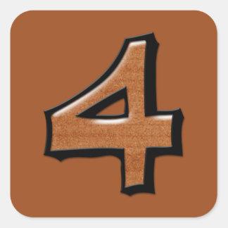 Pegatina cuadrado del chocolate tonto del número 4