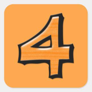 Pegatina cuadrado del naranja tonto del número 4