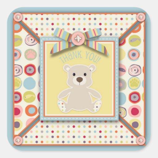 Pegatina cuadrado del oso TY del oso