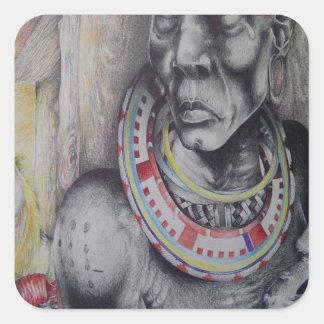 Pegatina cuadrado Hakuna Matata con el Masai de