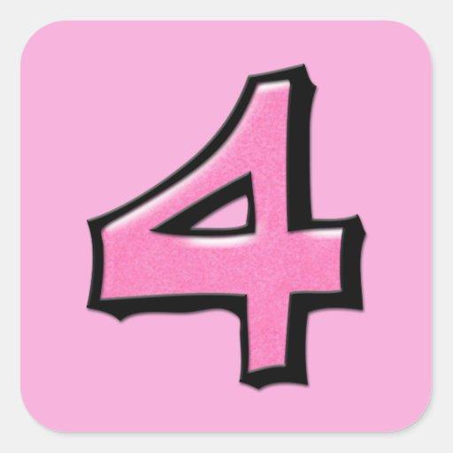 Pegatina cuadrado rosado del número 4 tontos