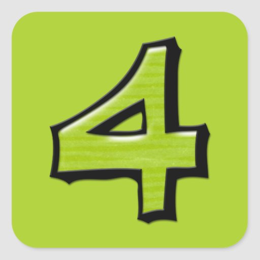 Pegatina cuadrado verde del número 4 tontos