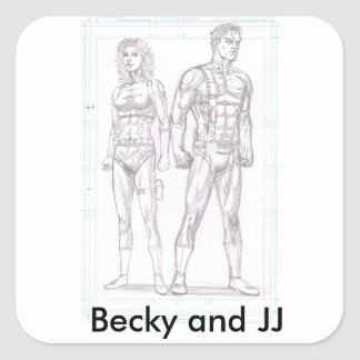 Pegatina de Backy y de JJ