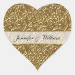Pegatina de encargo del boda del oro del corazón s