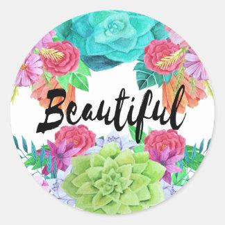 Pegatina de encargo floral hermoso