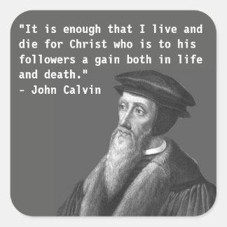 Pegatina de Juan Calvino (vida y muerte)