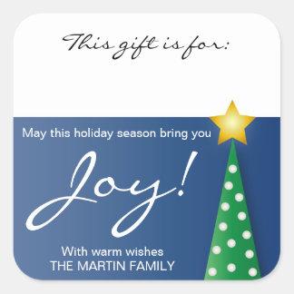 Pegatina de la etiqueta del regalo de la alegría
