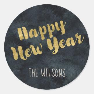 Pegatina de la Feliz Año Nuevo - acuarela y oro