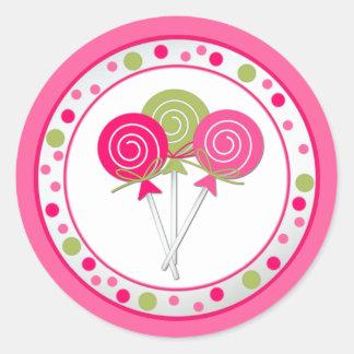 Pegatina de la fiesta de cumpleaños de Lollypops