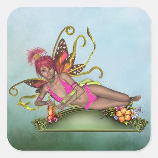 Pegatina de la hada de la mariposa de la fresa