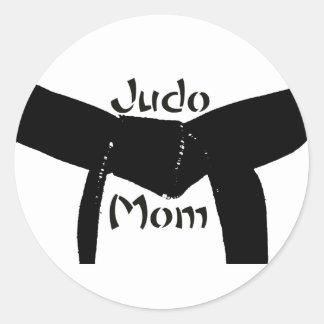Pegatina de la mamá del judo de la correa negra de