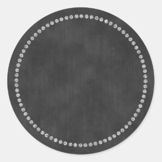 Pegatina de la pizarra con el monograma de plata