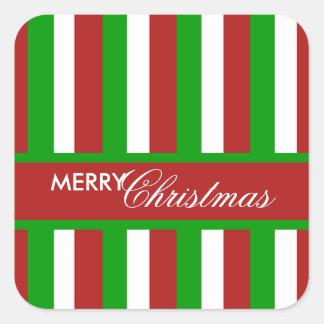 Pegatina de la Plaza Roja de las rayas del navidad