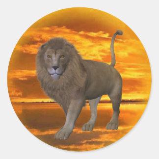 Pegatina de la puesta del sol del león