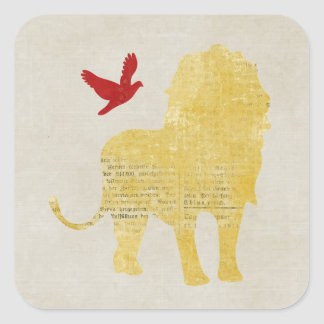 Pegatina de la silueta del león y de la paloma