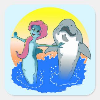 Pegatina de la sirena del delfín