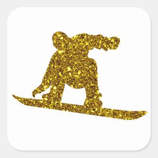 Pegatina de la snowboard del oro