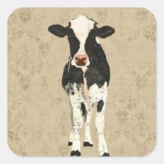 Pegatina de la vaca del ónix y de la perla
