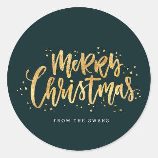 Pegatina de las Felices Navidad del oro