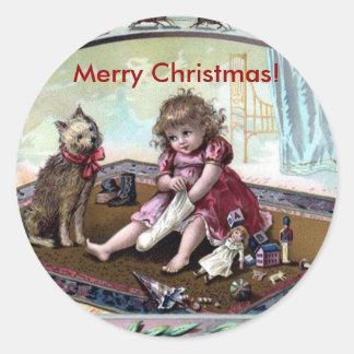 Pegatina Redonda Pegatina de las Felices Navidad del vintage