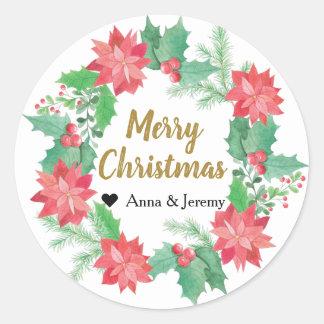 Pegatina de las Felices Navidad - Navidad del oro