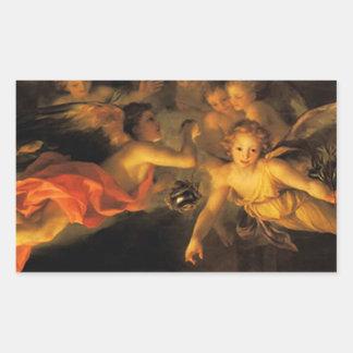 Pegatina Rectangular Pegatina de los ángeles de la natividad del