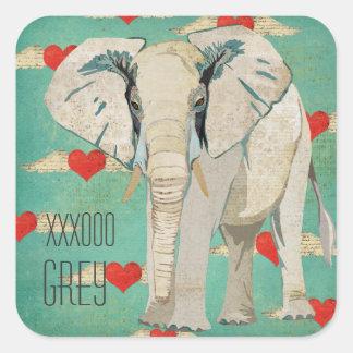 Pegatina de los corazones del elefante blanco