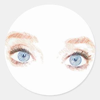 Pegatina de los ojos azules