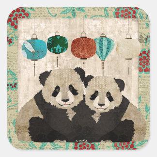 Pegatina de los osos de panda del vintage