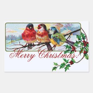 Pegatina Rectangular Pegatina de los pájaros del navidad