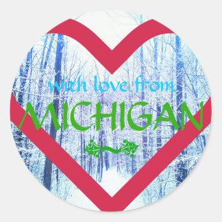 pegatina de Michigan del diseño del día de fiesta