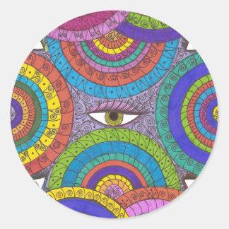 Pegatina de ojos verdes vigilante del arte de la