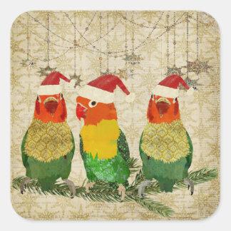 Pegatina de oro del día de fiesta de tres pájaros