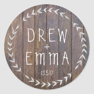 Pegatina de plata de madera rústico del boda de la