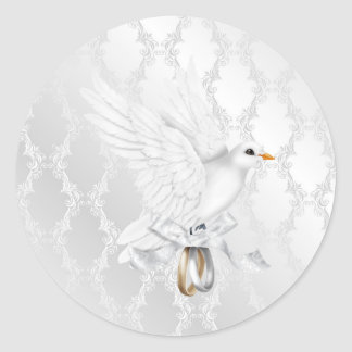 Pegatina de plata del boda del damasco con la