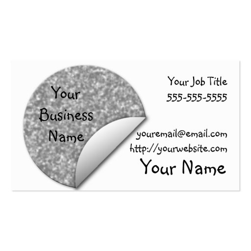 Pegatina de plata del brillo tarjetas de negocios
