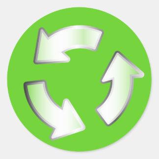 Pegatina de reciclaje verde del círculo del ciclo