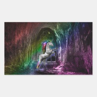 Pegatina de Rentagular del unicornio del arco iris