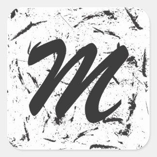 Pegatina de Rounde del monograma del Grunge