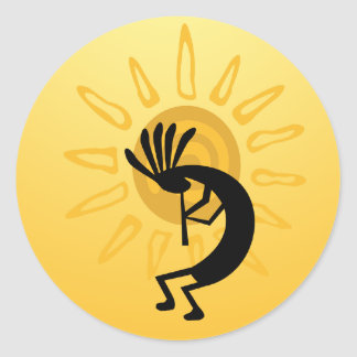 Pegatina de Sun del oro de Kokopelli