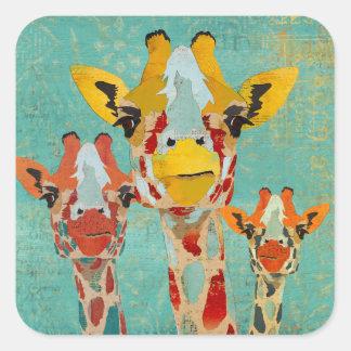 Pegatina de tres jirafas que mira a escondidas