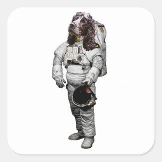 Pegatina del astronauta de cocker spaniel