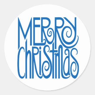 Pegatina del azul de las Felices Navidad