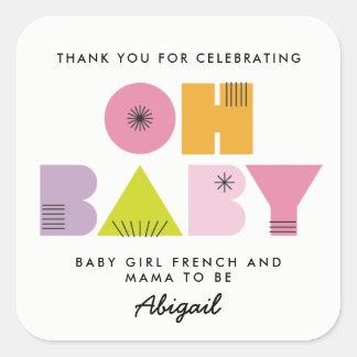 Pegatina del bebé de la fiesta de bienvenida al